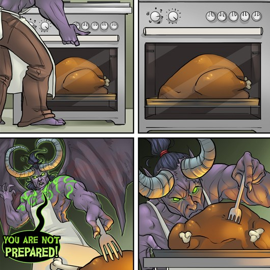 Not even his dinner can escape Illidan's mad obsession with appropriate preparation.